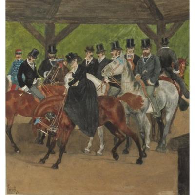 William French 1815-1898 Cavaliers Sur Le Départ Au Bois De Boulogne Aquarelle