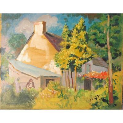 Eugène Damblans 1865-1945 Maison Bretonne Huile Sur Panneau