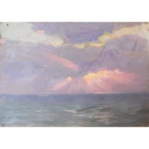 Henri Adam 1864-1917 Coucher De Soleil Sur La Mer Huile Sur Carton