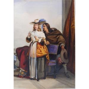 Joseph Beaume 1796-1885 La Lecture De La Lettre Aquarelle