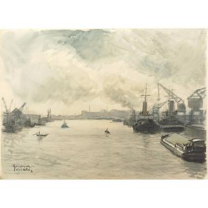 Fernand Decaix 1901-1974 Le Havre Aquarelle