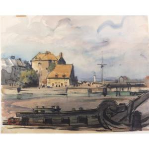 Fernand Decaix 1901-1974 Honfleur La Capitainerie Aquarelle