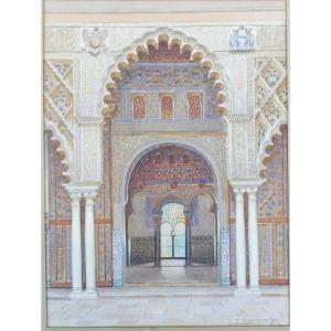 Fernando Liger Hidalgo 1880-1945 Porte d'Un Patio De l'Alhambra Espagne