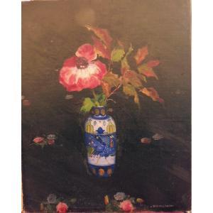 Umberto Brunelleschi 1879-1949 Vase De Fleurs Huile Sur Carton entoilé