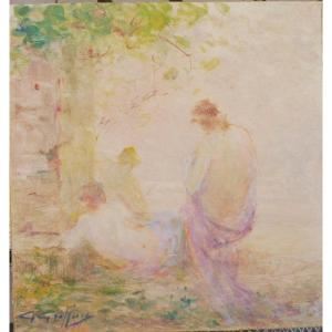 Gabriel Giffon 1866-1938 Naïades Huile Sur Papier