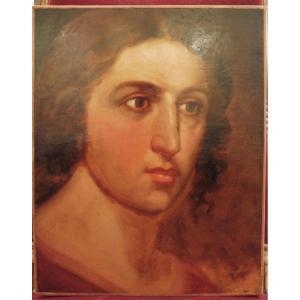 Louis Gallait 1810-1887 Portrait De Jeune Homme Huile Sur Papier