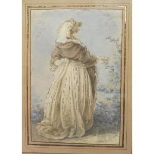 Entourage De Gabriel De Saint Aubin 1724-1780 Femme Cueillant Une Feuille Gouache