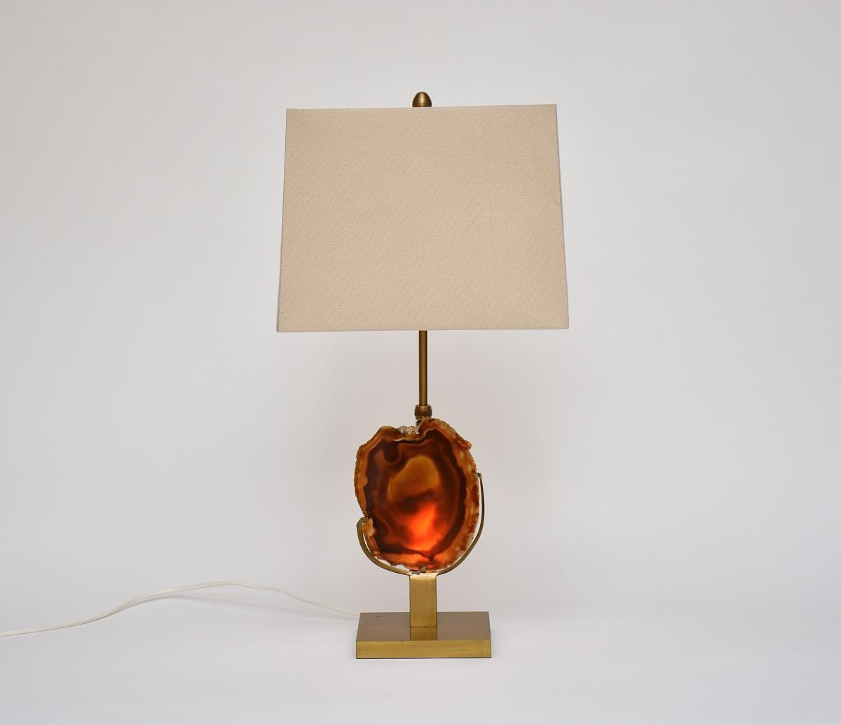 Willy Daro Beautiful Lamp Bronze And Agate Stone