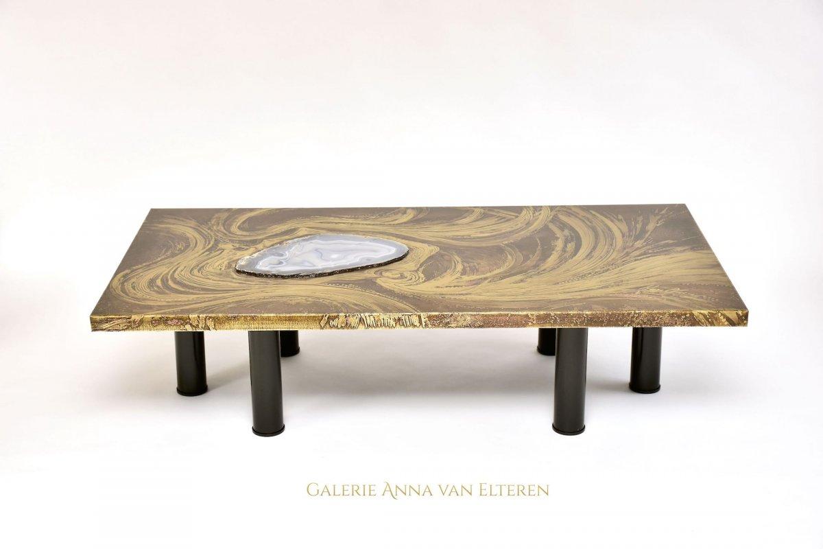 Superbe Table Basse Avec d'Agate Par Marc d'Haenens, Signée