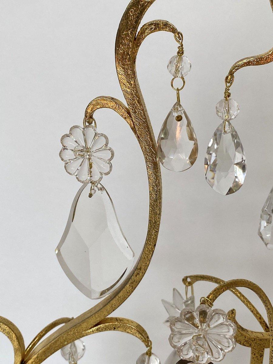 A  Pair Large Crystal Girandoles By Maison Baguès-photo-5