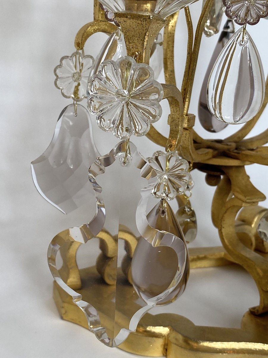 A  Pair Large Crystal Girandoles By Maison Baguès-photo-6