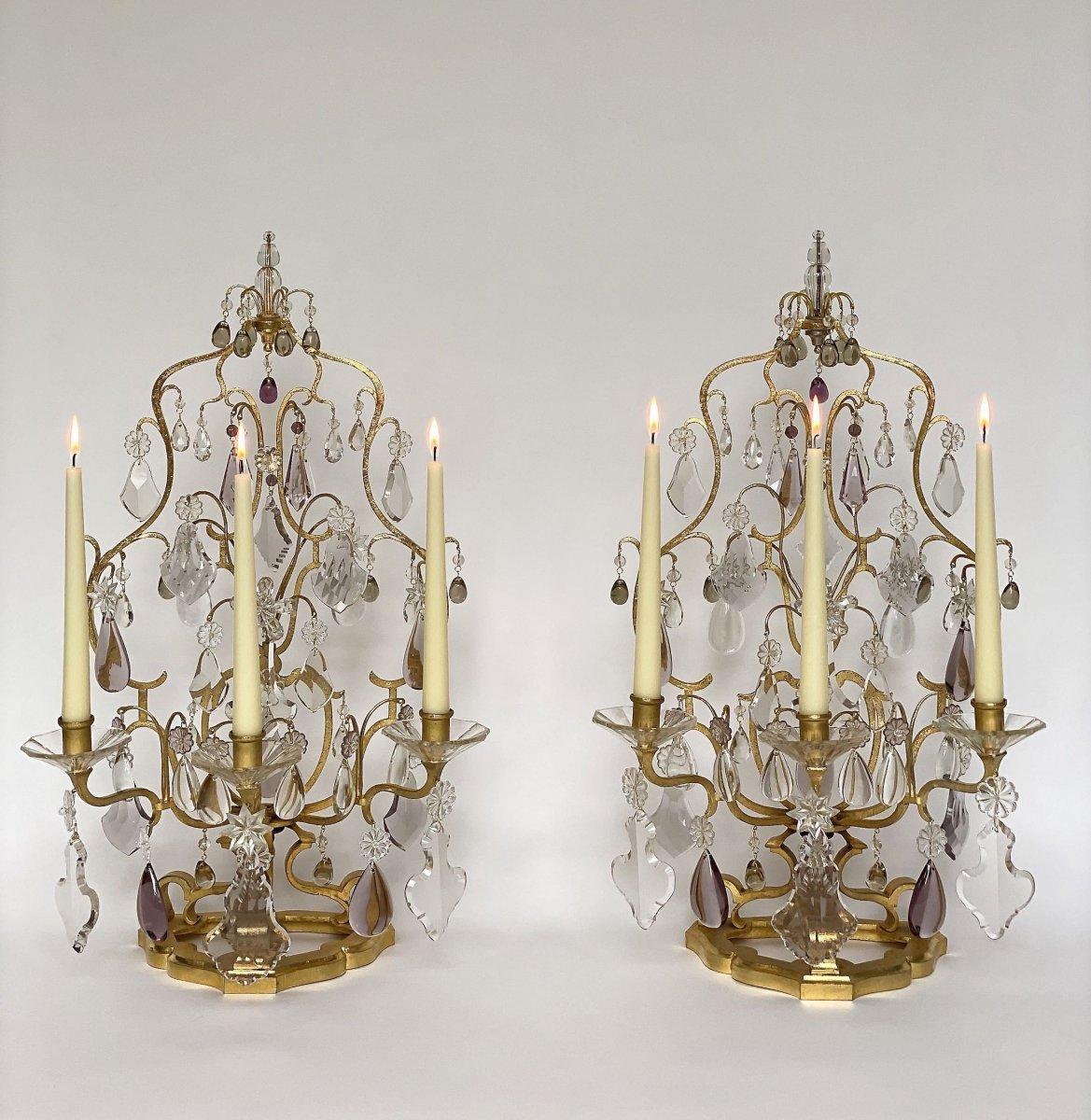 A  Pair Large Crystal Girandoles By Maison Baguès