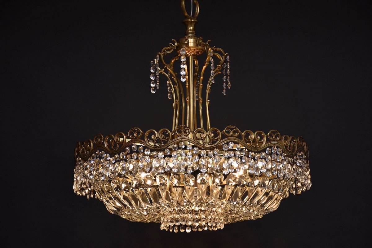 Large Ceiling Chandelier In Gilded Bronze And Crystal-photo-4