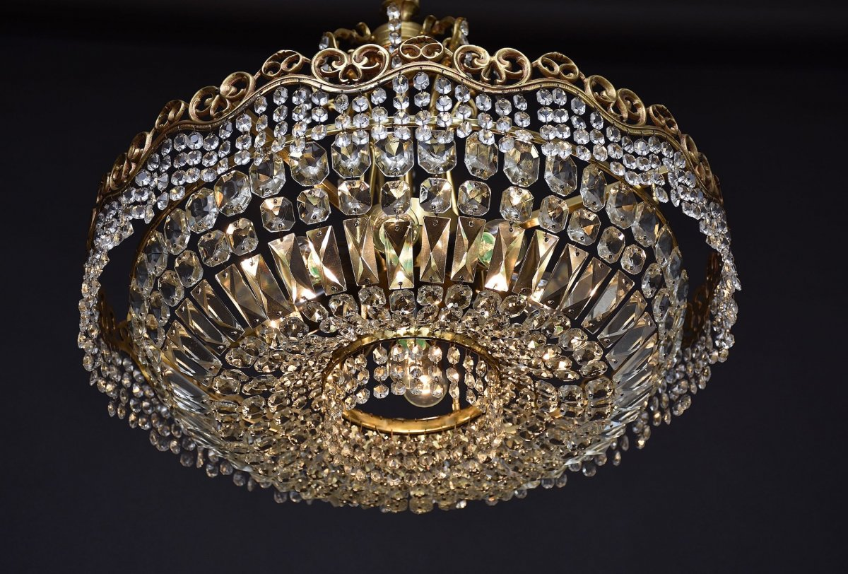 Large Ceiling Chandelier In Gilded Bronze And Crystal-photo-1