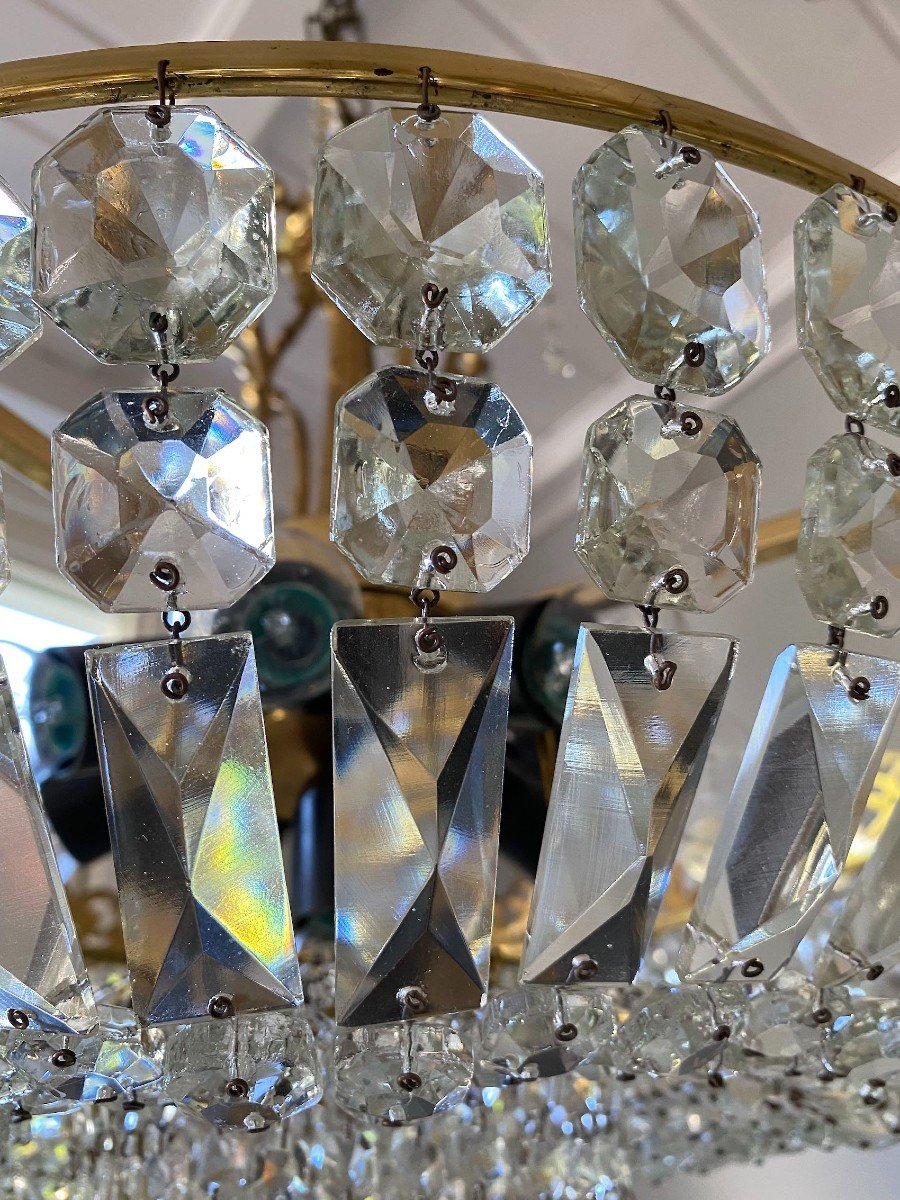 Large Ceiling Chandelier In Gilded Bronze And Crystal-photo-7