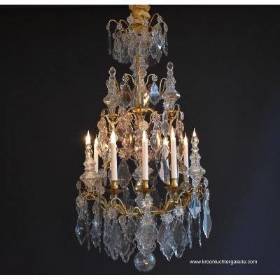 Unique Lustre Cage Bronze Doré Et Cristal Epoque Louis XV