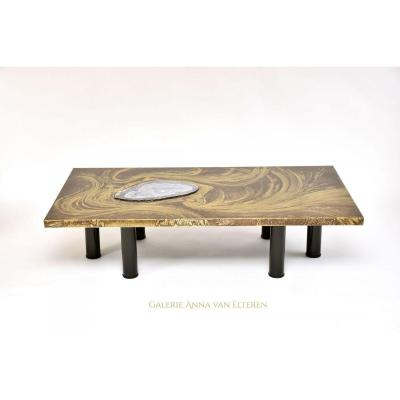 Superb Coffee Table With Agate By Marc d'Haenens, Signed