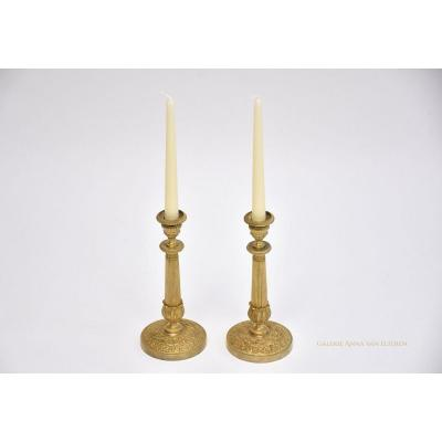 A Pair Of  Gilt Bronze Empire Candlesticks