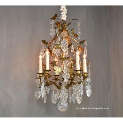Gilt Bronze 19th C. Chandelier With Baccarat Crystals