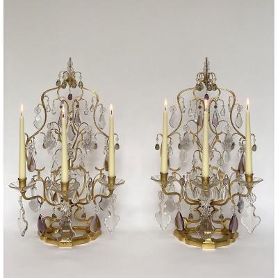 A Wonderful Pair Large Crystal Girandoles By Maison Baguès