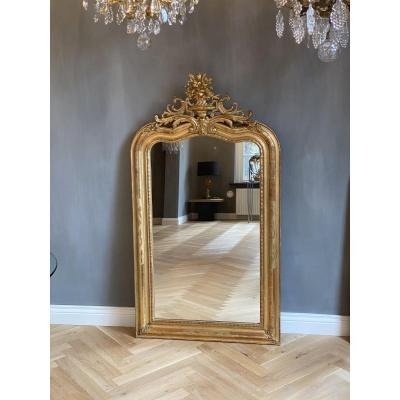 19c. French Gilded Mirror With A Crest