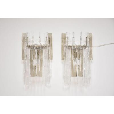 Pair Of Murano Sconces By Mazzega