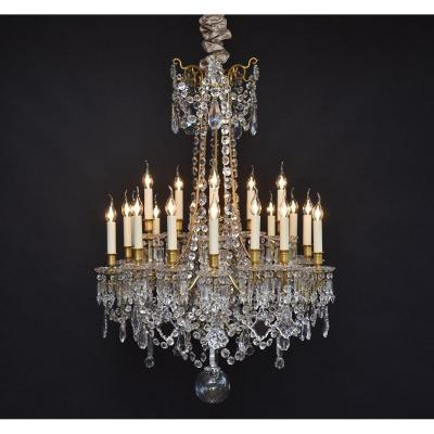 Large French Chandelier With Baccarat Crystals  In The Style Of Louis XVI