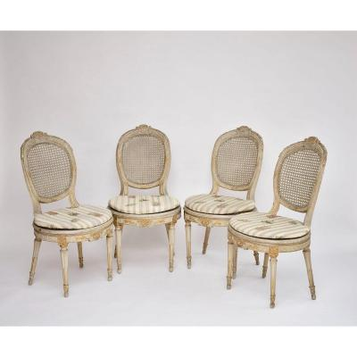 Suite Of 4 Louis XVI Style Wooden Chairs Ca. 1800