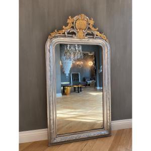 Miroir Ancien Louis -philippe, Feuille d'Argent, XIX Siècle