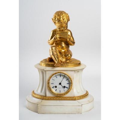 Pendule-borne De Style Louis XVI  En Marbre Et Bronze Ciselé Doré