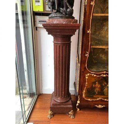 Piédestal En Marbre Rouge Antique De Goût Néo-grec. XIXe Siècle.