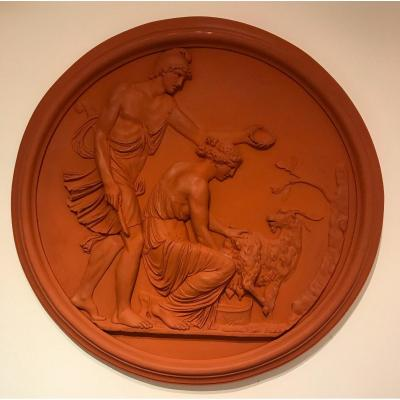 Large Antique Resin Medallion In Imitation Of Terracotta, 1980s
