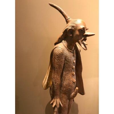 """Félix Schivo, plâtre d'atelier, """"polichinelle"""" H 78 cm"""