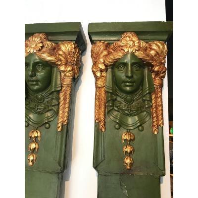 Paire De Pilastre, Bois Sculpté Peint Et Doré, Vers 1925