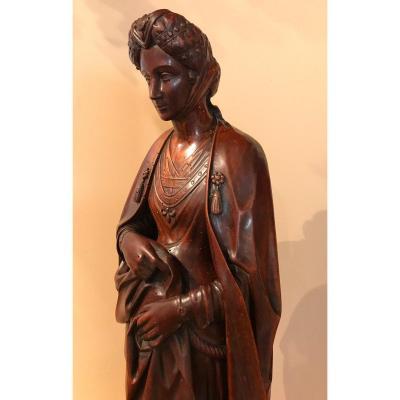 Grande Statue En Noyer, Dame De La Renaissance, Fin XIXe  Hauteur 85 Cm