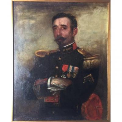 Portrait Of Officer Lieutenant Colonel Of Staff Infantry Signed Henri Teissier