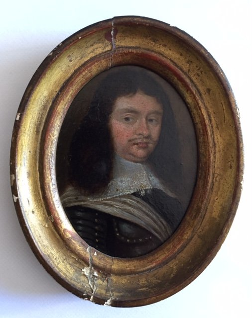 Miniature Sur Cuivre Du XVIIème Siècle Vers 1640, Portrait d'Homme En Cuirasse