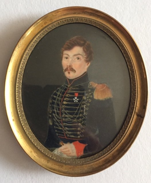Portrait Of Hussar Officer, Miniature On Ivory, Restoration / Second Empire Period