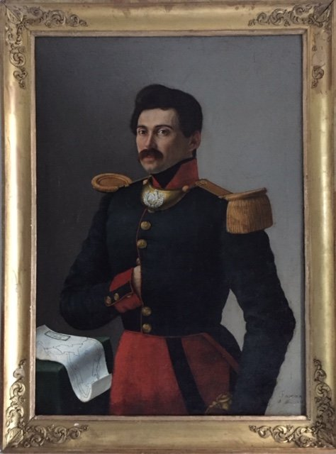 Portrait Of Lieutenant Officer Of The 66th Infantry Regiment Present At The Siege Of Ancona In 1834
