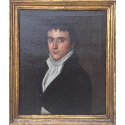 Portrait d'Homme époque Directoire entourage de Louis Léopold Boilly, coiffé à la Titus, fin XVIIIème siècle