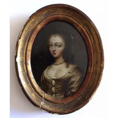 Miniature On Copper From The Seventeenth Century, Around 1636, Portrait Of Lady