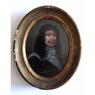 Miniature On Copper From The Seventeenth Century Around 1650, Portrait Of A Man In Breastplate