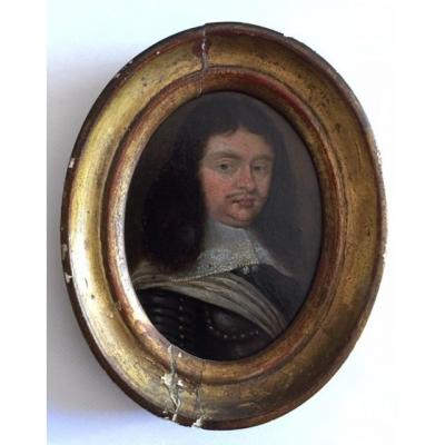 Miniature On Copper From The Seventeenth Century Around 1640, Portrait Of A Man In Breastplate