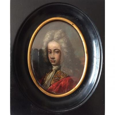Rare! Miniature On Copper Around 1720 With Etching On The Back, Portrait Of A Man