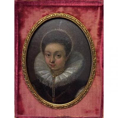 17th Century Double Sided Miniature On Copper, Portrait Of Frances Teresa Stuart