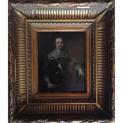 Portrait Of Man In Breastplate, Dutch School Of The XIXth Century