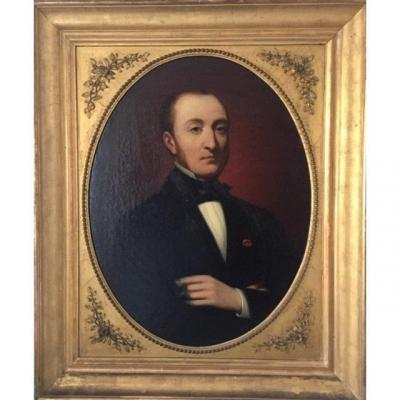 Portrait Of Notable Monogrammed Stc And Dated 1863, Oil On Canvas