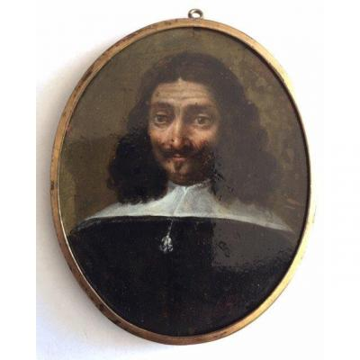 LOT 118 - Miniature Sur Cuivre Vers 1640, école Flamande, Portrait d'Homme
