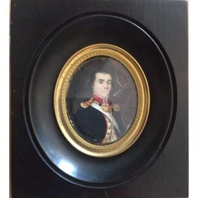 Portrait Of Officer Carrying Flag Around 1795, Miniature On Ivory