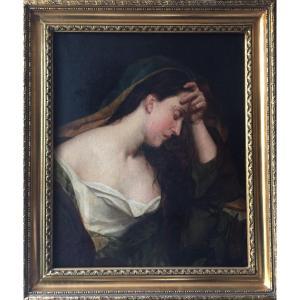 LOT 165 - Portrait De Femme éplorée, école Française Du XIXème Siècle